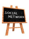 Social network on blackboard — Stock Photo