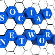 Social network - blue hexahedrons in cellular structure — Stockfoto