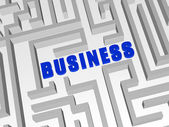 Blue business in labyrinth — Stock Photo