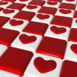 Chess love 2, 3d red hearts over chess-board — Stock Photo