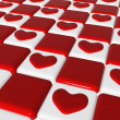 Chess love 2, 3d red hearts over chess-board — Stock Photo #8459213