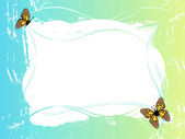 Blue green frame with butterflies — Stock Photo