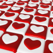 Stock Photo: Chess love, 3d red and white hearts over chess-board