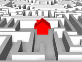 Red house in labyrinth — Stock Photo