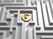 Euro v labyrintu — Stock fotografie