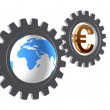Gear-wheels with world globe and euro - Stock Photo