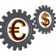 Gear-wheels with euro and dollar — Stock Photo