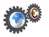 Gear-wheels with world globe and euro — Stock Photo