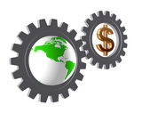 Gear-wheels with world globe and dollar — Stock Photo