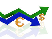 Euro and dollar arrows — Stock Photo