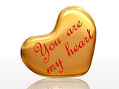 You are my heart in golden heart — Stock Photo