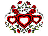 Krans van hartjes en rozen — Stockfoto