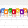 Wednesday in 3d coloured cubes - Stock Photo