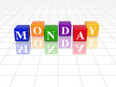 Monday in 3d coloured cubes — Stock Photo