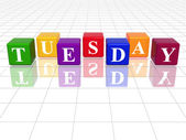 Tuesday in 3d coloured cubes — Stock Photo