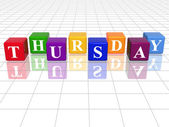 Thursday in 3d coloured cubes — Stock Photo