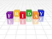 Friday in 3d coloured cubes — Stock Photo