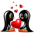 Stock Photo: Couple sweet penguins