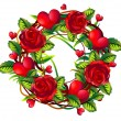 Stock Photo: Wreath of roses and hearts