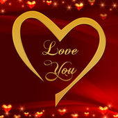 Love you in golden heart in red — Stock Photo