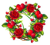 Wreath of roses and hearts — Stock Photo