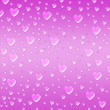 Hearts like droplets violet background — Stok fotoğraf