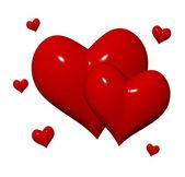 красные сердца 3d — Стоковое фото