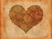 Heart of tree rings old paper background — Stock Photo