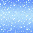 Stock Photo: Hearts like droplets blue background