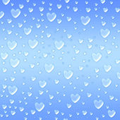 Hearts like droplets blue background — Stock Photo