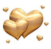 Golden hearts 3d — Stock Photo