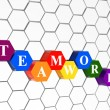 Teamwork in colour hexahedrons in cellular structure - Stock Photo