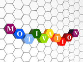 Motivation in colour hexahedrons in cellular structure — Stock Photo