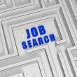 Blue job search in labyrinth - Stock Photo