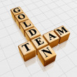 Golden team crossword — Stock Photo