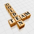 Golden team crossword - Stock Photo
