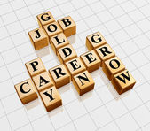 Golden crossword - job, career, grow, pay — Stock Photo