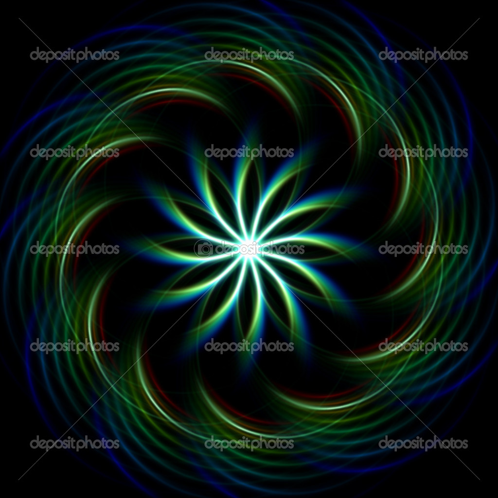 Blue green Glowing mandala over dark background  Foto de Stock   #9911908