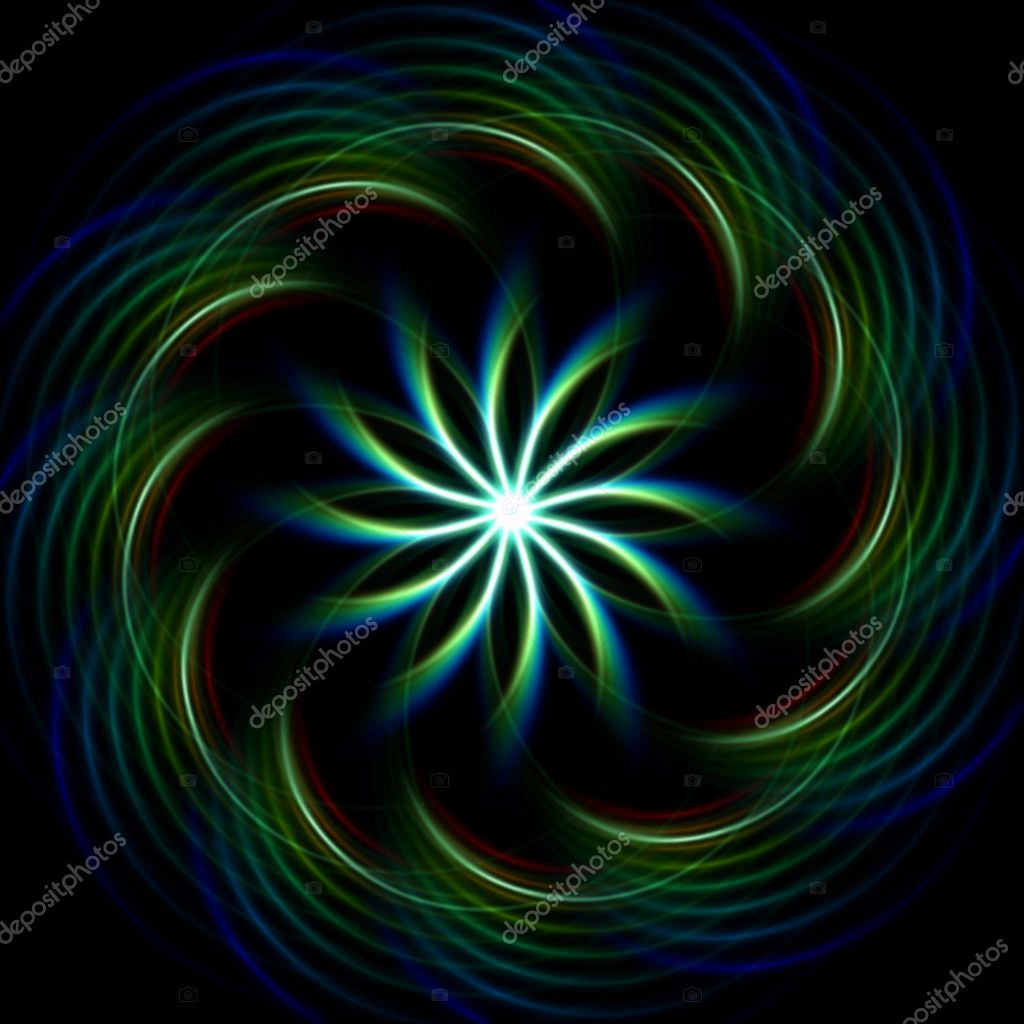 Blue green Glowing mandala over dark background — Stok fotoğraf #9911908