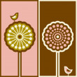 Royalty-Free Stock Vectorielle: Cute bird and arabesque tree. Vector illustration.