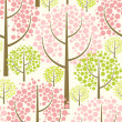 Stock Vector: Spring forest. Seamless vector pattern in green.