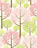 Spring forest. Seamless vector pattern in green. — Stock Vector