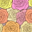 Multicolored roses. Seamless floral pattern. Vector illustration — Stock Vector