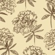 Azaleas. Seamless floral pattern in vintage style. Vector illust - Stock Vector