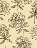 Azaleor. sömlös blommönster i vintage stil. vektor illust — Stockvektor