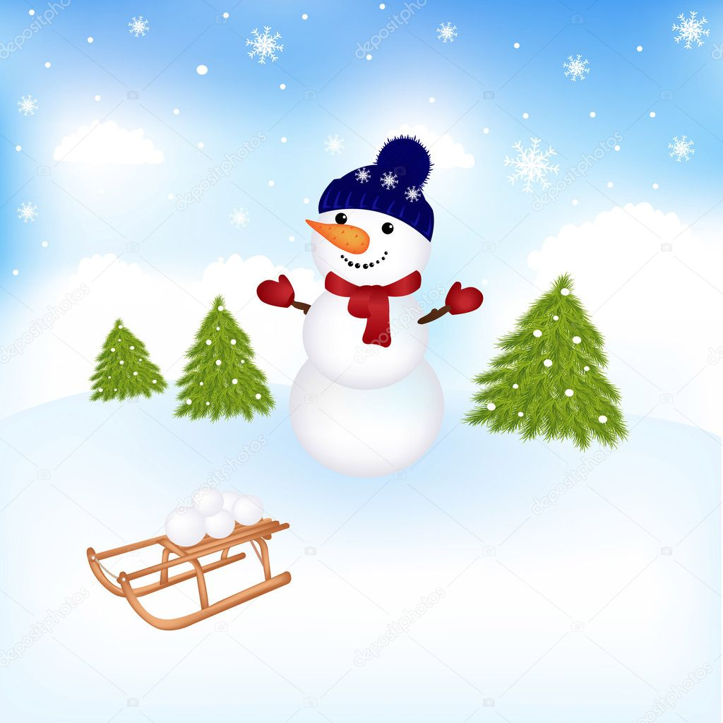Christmas Snowman, Vector Illustration — Stock Vector #8028714