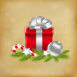 Xmas Illustration With Gift — Stock Vector