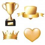 Gold Trophy Set — Stock Vector
