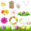 Happy Easter Icons And Green Grass — Stock Vector