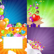 Stock Vector: Birthday Backgrounds Set With Sunburst